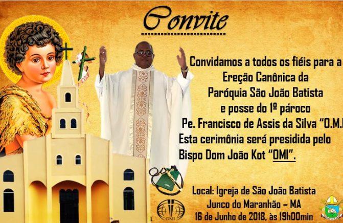Convite: Ereção Canônica da Paróquia São João Batista e posse do primeiro pároco