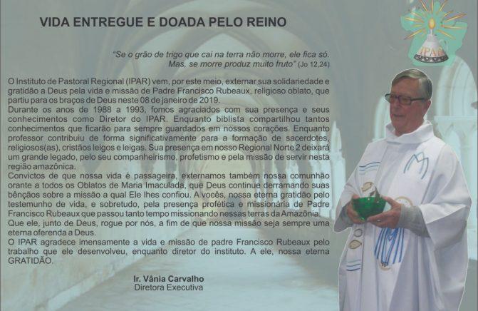 Nota de falecimento Pe. Francisco Rubeaux